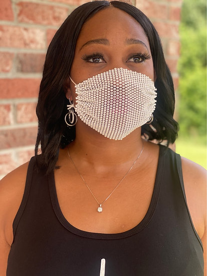 Face Mask Layered Rhinestone Unisex