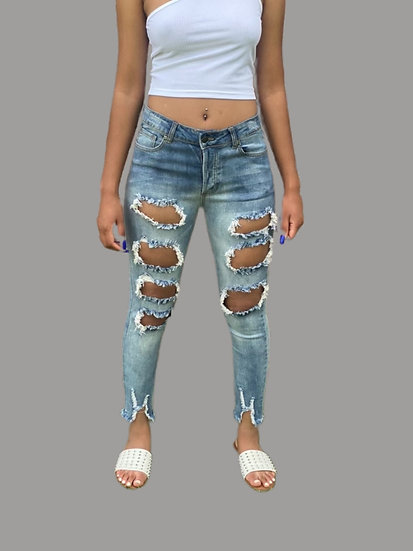 Women Stretchy Big Hole Cut Relaxed Leg Jeans