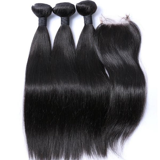 Straight Hair Bundle Deals with closure