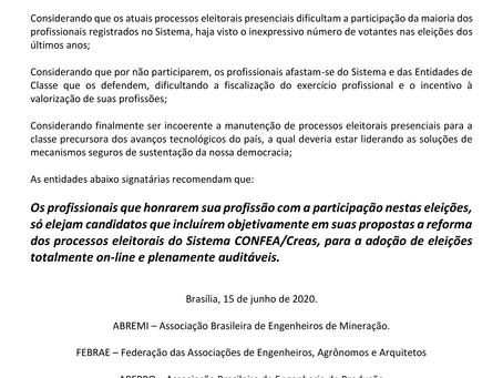 """Manifesto para adoção de eleições """"on-line"""" no Sistema CONFEA/Creas."""