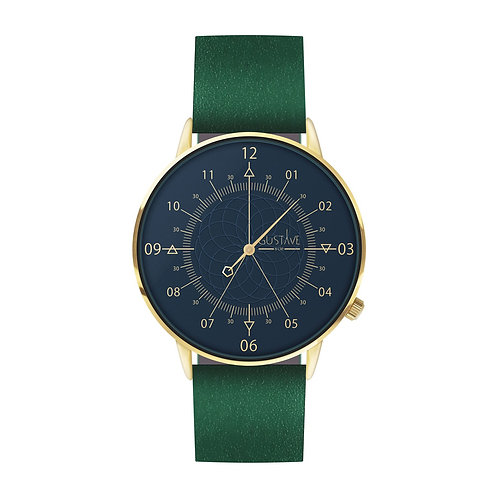 Montre Louis Bleu et Or, cuir vert