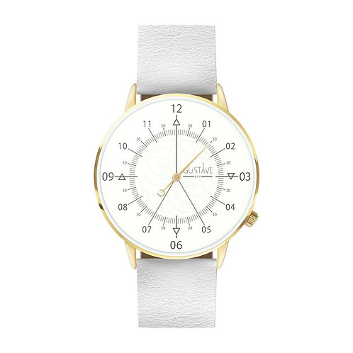 Montre Louis blanc et or, cuir blanc