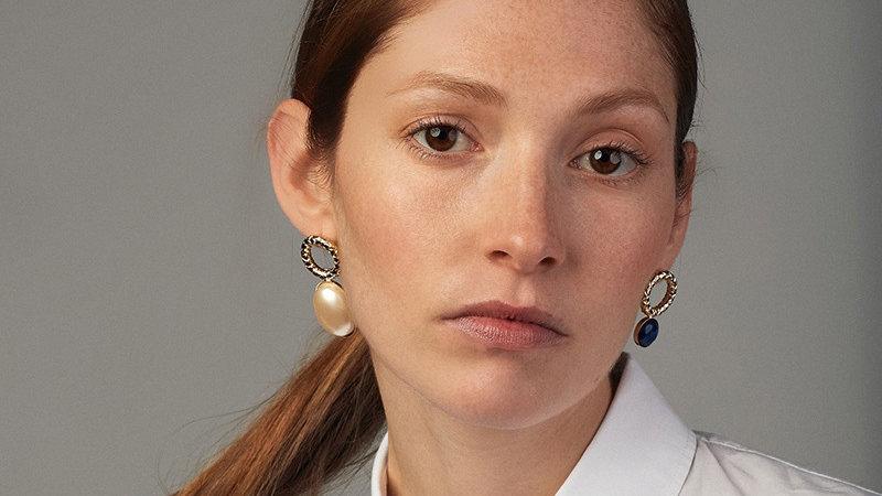 Boucles d'oreilles D'Estrëe mini Sonia bleu blanche