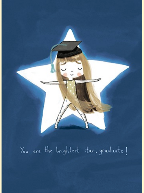 Graduation Card - Girl with star in background
