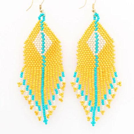 Ink+Alloy Yellow Ivory Diamond Seed Bead Earrings
