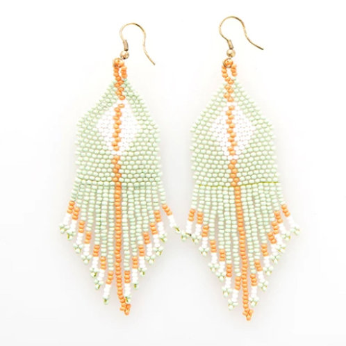 Ink+Alloy Mint White Diamond Seed Bead Earrings