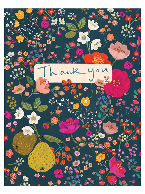 Pear Floral Thank You Card