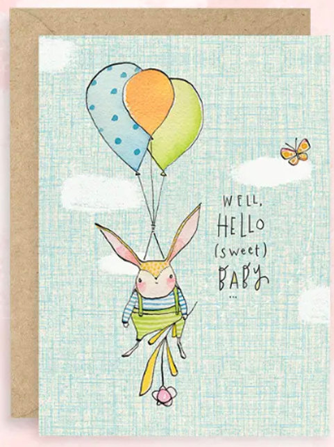 New Baby Card - Rabbit hanging from balloons
