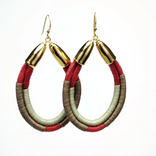Moss Rope Hoop Earrings Rust/tan