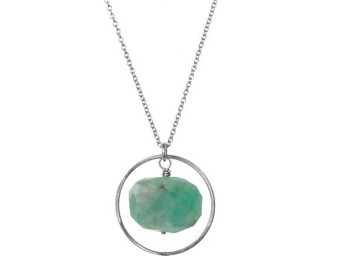 Celeste Emerald Necklace Silver