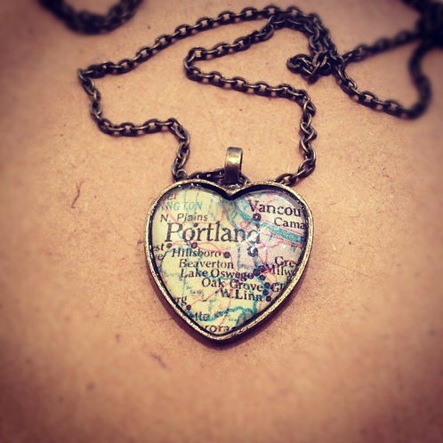 Portland Map Heart Necklace