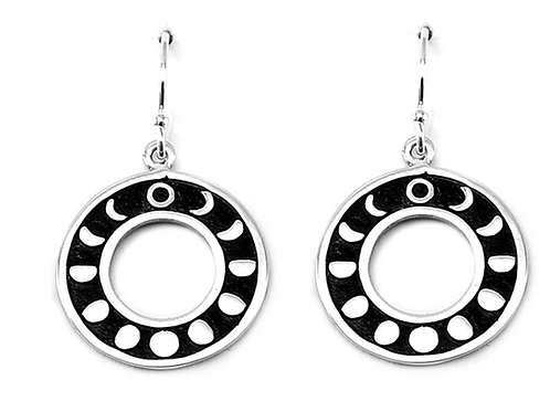 Round Moon Phase Earrings