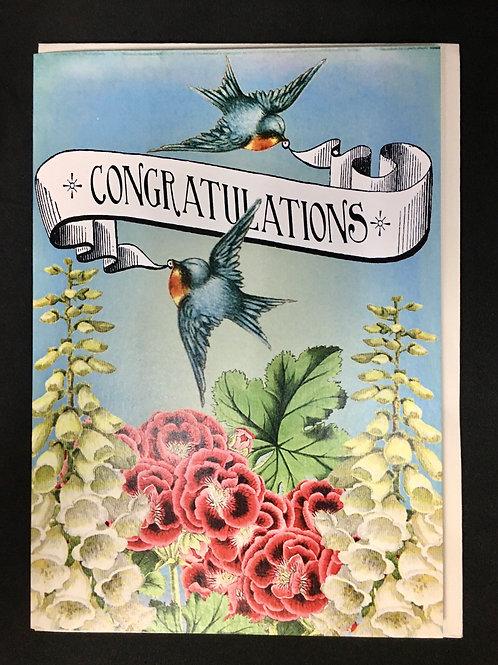 Congratulations Card - Birds, Foxglove and Pansies