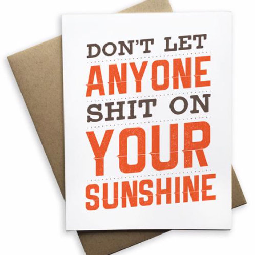Don't Let Anyone Shit On Your Sunshine Blank Card