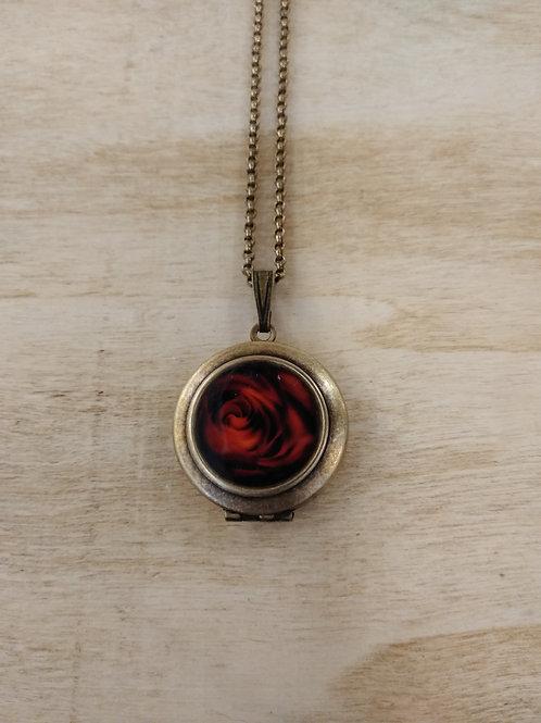 Rose Photo Locket Necklace