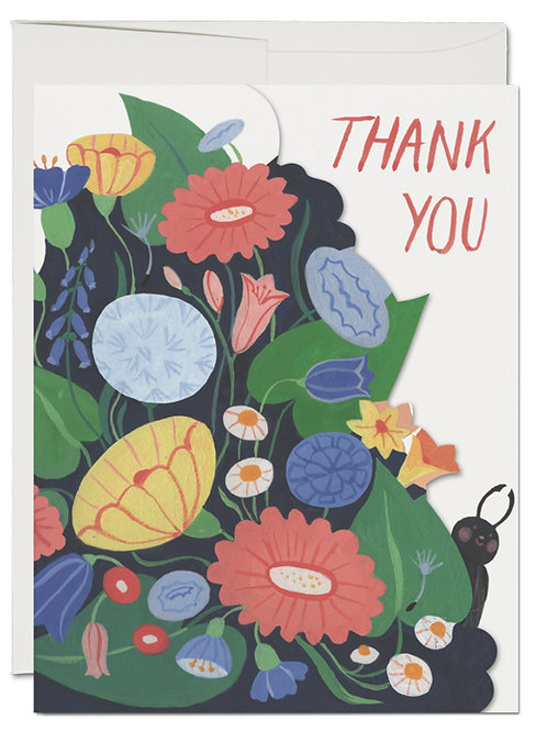 Thank You Card - Die cut flowers  w/bugs on inside