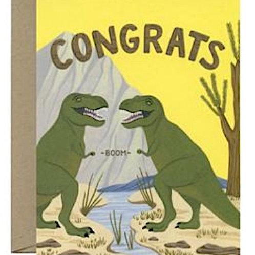 Congratulations Card Dino's Fist Bump