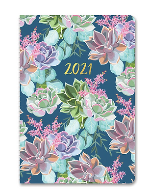 Succulent Garden 2021 On-Time Weekly Planner (17 month)
