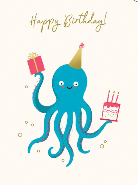 Octopus Birthday Card - Holding presents