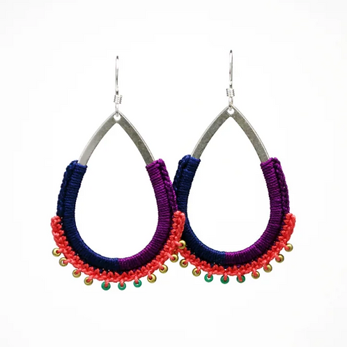Beaded Teardrop Hoop Earrings