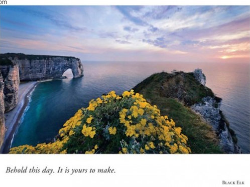 "Congratulatioins Card - Sunset Ocean Cliff""Behold this day..."""