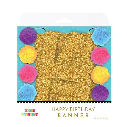 Pom Pom Birthday Banner