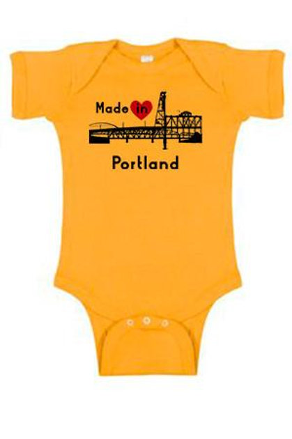 Made In Portland Onesie Gold