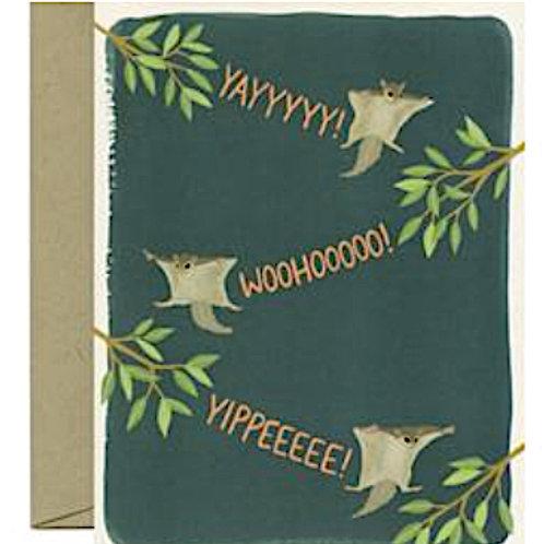 Congratulations Card Flying Squirrels