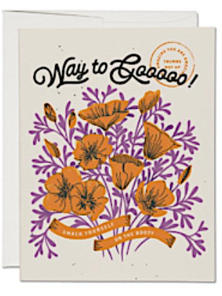 Congratulations Card - Orange Poppies - Way to Goooo