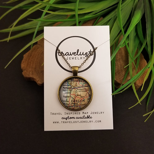 Portland Map Necklace 1""