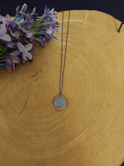 Chalcedony Halo Necklace