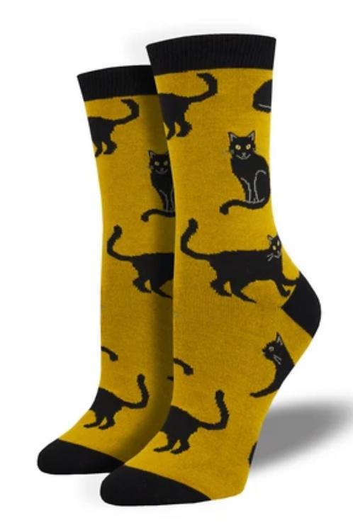 Black Cat Bamboo Socks -Gold - Women's