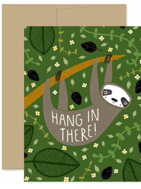 """Blank Card Sloth """"Hang in There"""""""