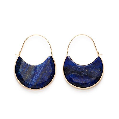 Lapis Lazuli Gem Stone Hoops