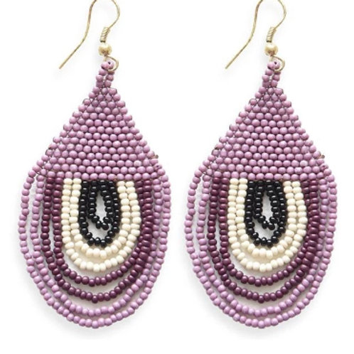 Ink + Alloy Sunset Lilac & Ivory Seed Bead Earrings