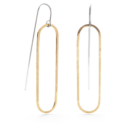 Geometric Threaders- Oval Earrings