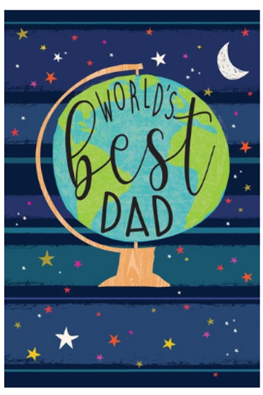 """Father's Day Card - Globe """"World's Best Dad"""""""
