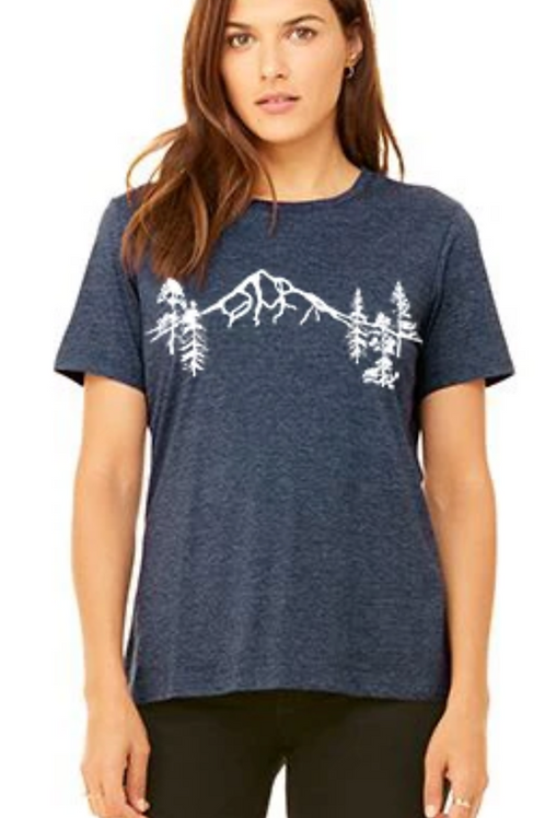 Mt Hood Forest T-Shirt Women's - Heather Navy
