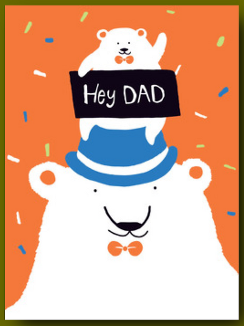 Father's Day Card - Baby Polar Bear on Papa Bear's head