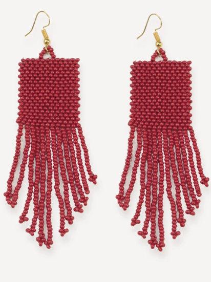 Ink + Alloy Deep Red Seed Bead Earrings