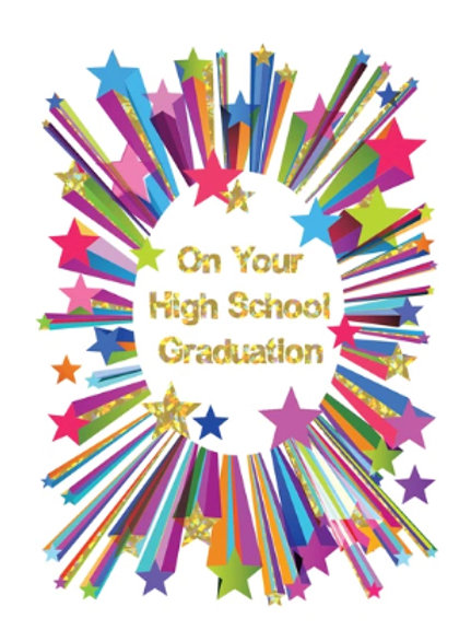 "Graduation Card - Stars - ""On your High School..."""