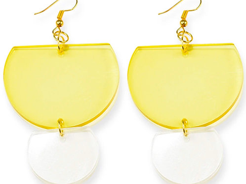 Ink+Alloy Earrings Lucite Clear Double Half Round  Yellow