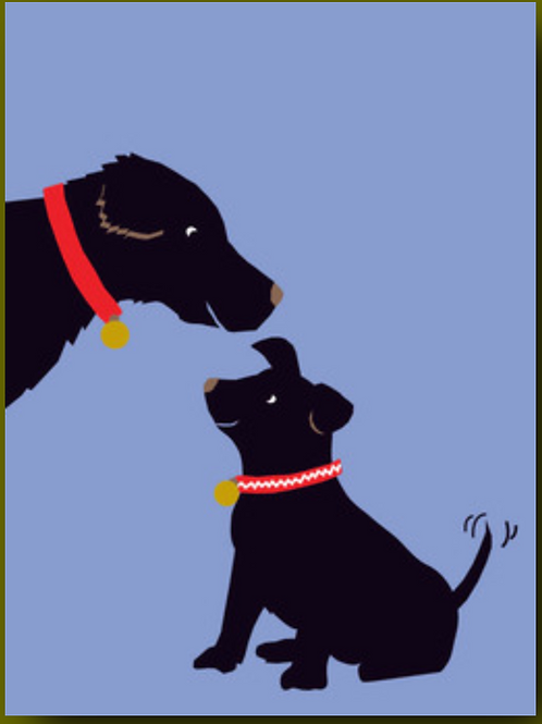 Father's Day Card - Dog with Puppy (purple background)