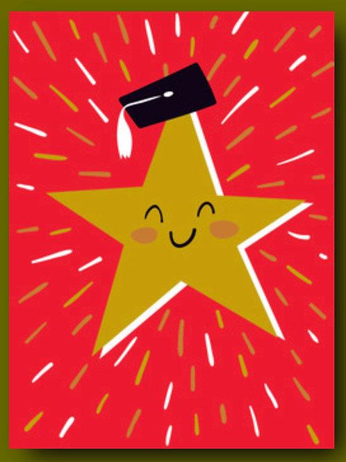 Graduation Card - Star with Grad Cap