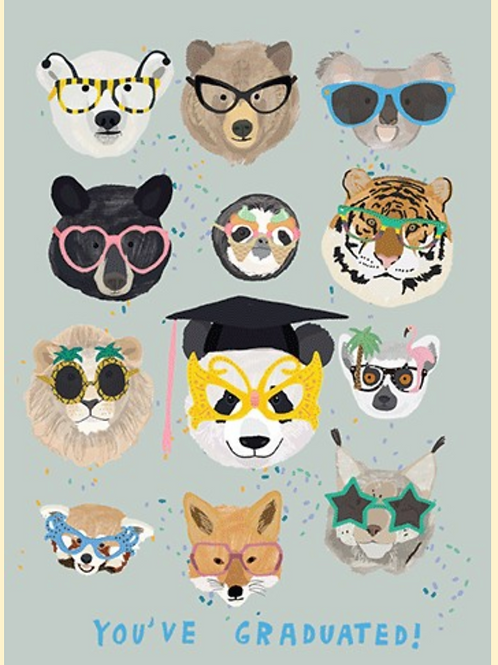 Graduation Card - Animal faces with glasses on