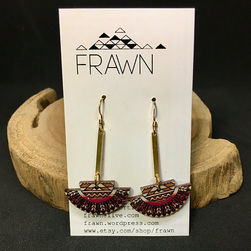 Frawn Earrings - Brass Bead Half Circle Brown