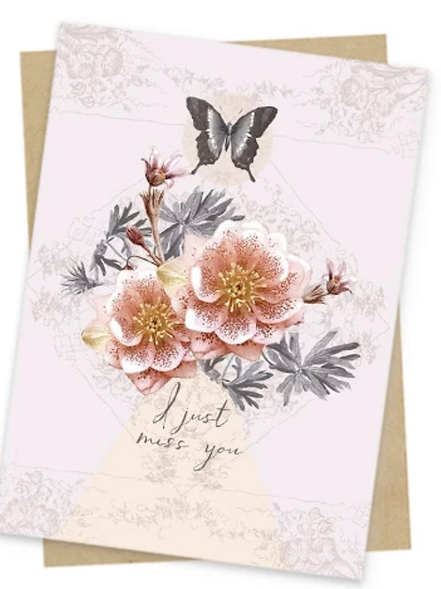 Miss You Card - Butterfly and flowers