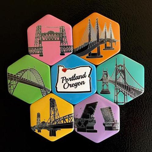 I Heart Portland Bridges Magnet Set