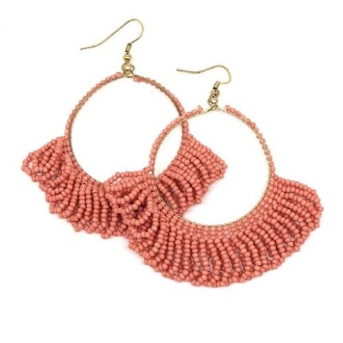 Ink+Alloy Coral Fringe Hoop Earrings