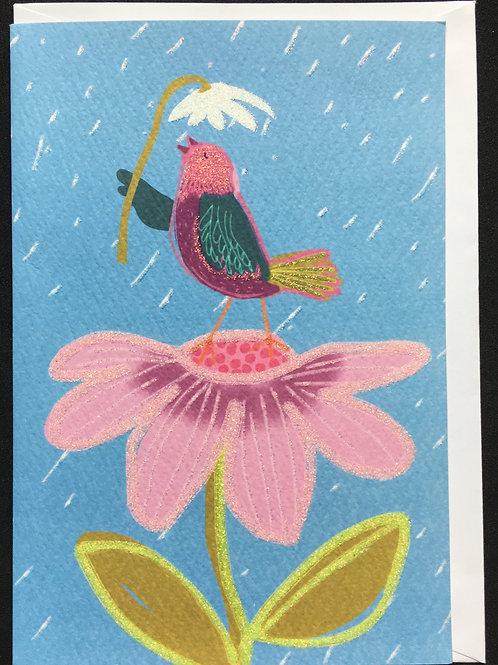 Bird on Flower Feel Better / Get Well Card